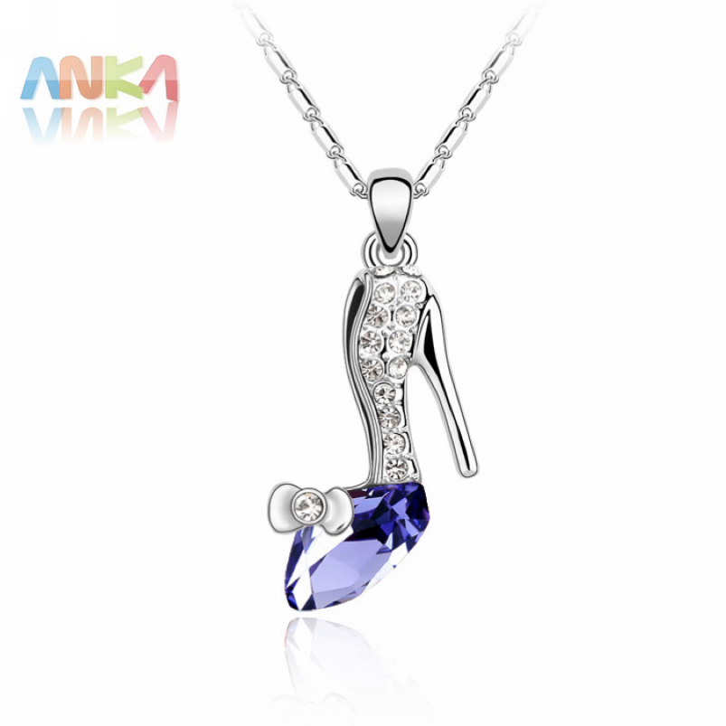 2016 New Jewelry Accessories Free Shipping Sexy High Heels Crystal Pendant Crystals from SWAROVSKI Fashion Shoes Necklace #83087(China (Mainland))
