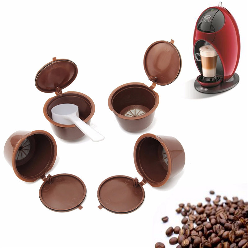 New 4pcs/pack Food Grade Plastic Reusable Coffee Capsules With for Dolce Gusto Refillable Refill Brewers Nescafe Cup Filter Tool(China (Mainland))