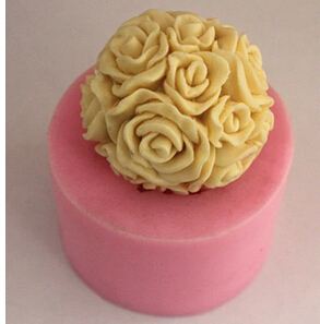 3D Rose Flower Ball Candle Mold Soap Mould Flexible Silicone Handmade Mold Craft(China (Mainland))