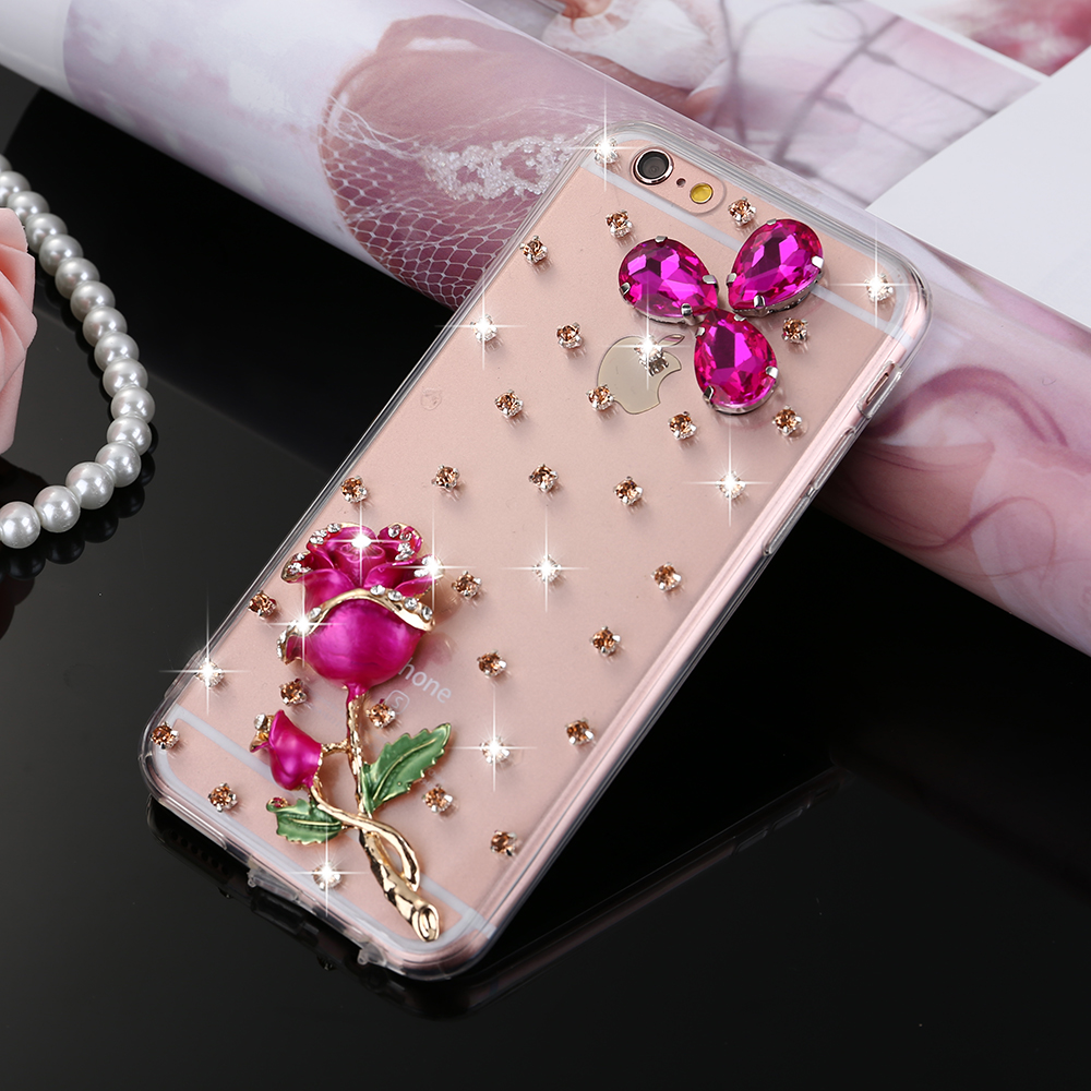 Luxury 3D Case For iPhone 6 6S Plus Rose Flower Mosaic Crystal Diamond Gemstone Swarovski Back Case Jewelled Cover For Lady Girl(China (Mainland))