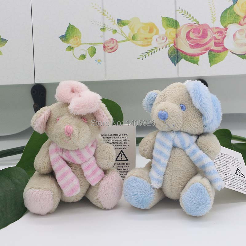 2 pieces/lot Stuffed Teddy Bear Birthday Present Cute Toy Pendant Soft and Safe Baby Teddy Bear Doll Easter Gifts Couple Bears(China (Mainland))