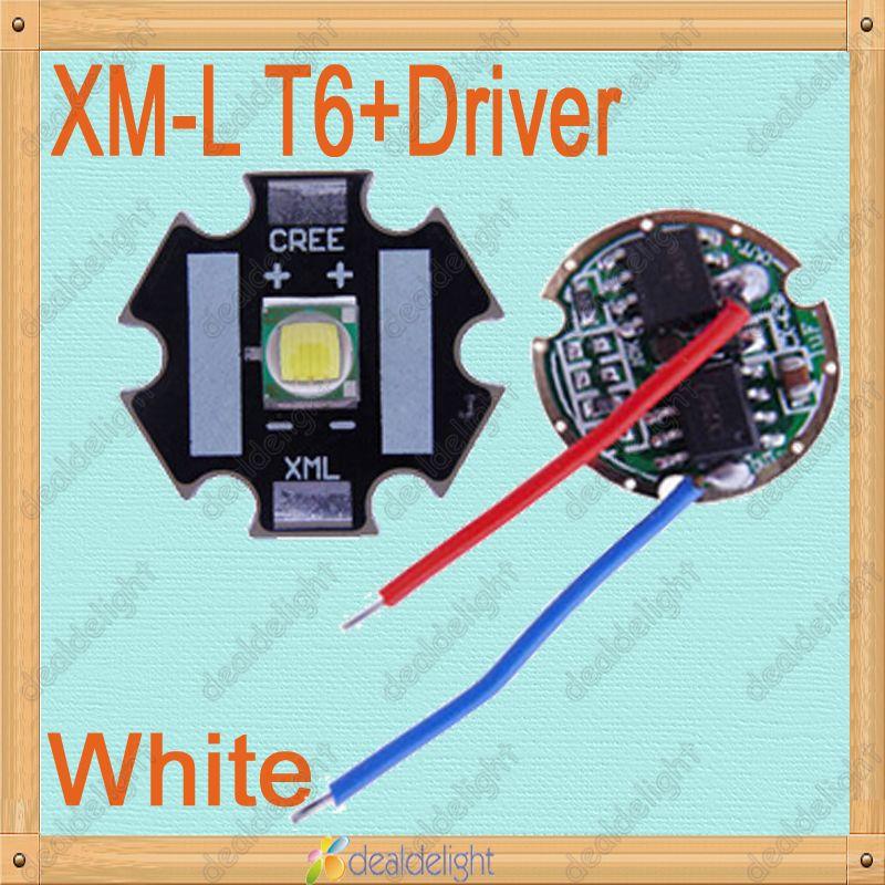 CREE Single-die XM-L T6 10W White LED Light Emitter Bulb 20mm PCB + DC3.7V Driver(China (Mainland))