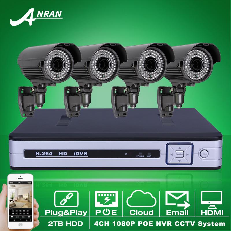 Plug And Play 4CH NVR POE CCTV System 2TB HDD Onvif 1080P HD H.264 Varifocal 2.8mm-12mm IR Security Surveillance POE IP Camera(China (Mainland))