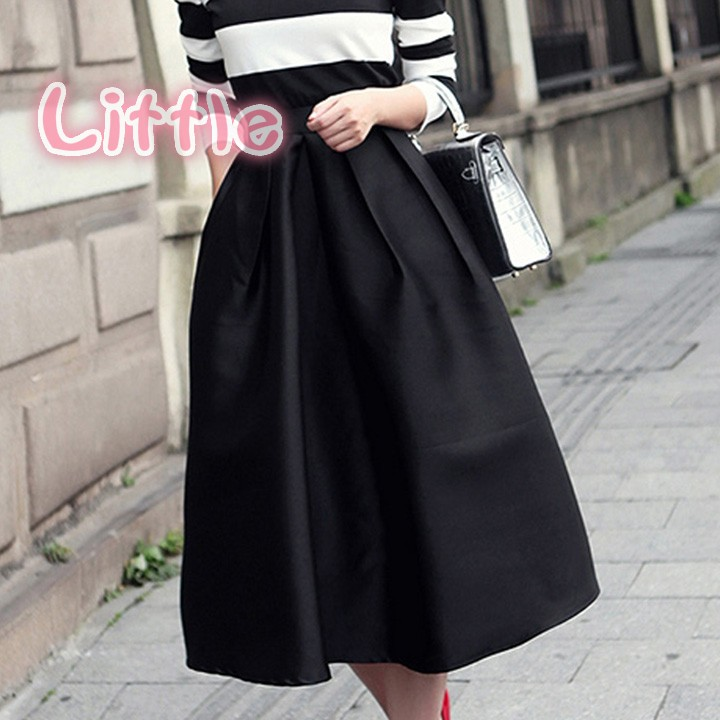2015 fashion vintage style pleated flare puff skirt