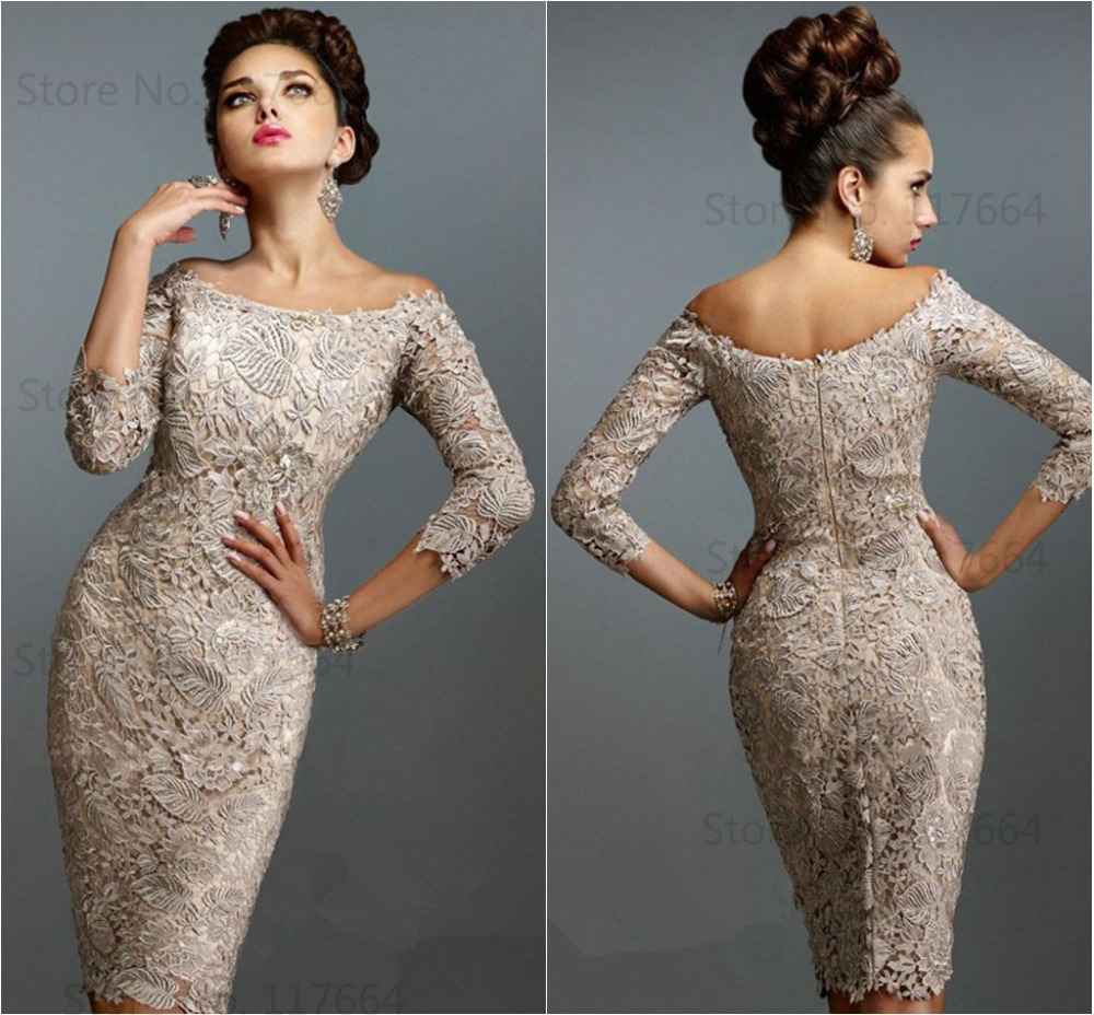 Elegant off shoulder 3 4 sleeve sheath knee length lace for 3 4 sleeve wedding guest dress
