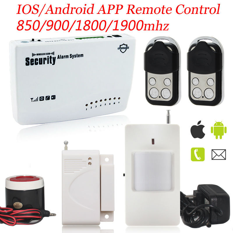 Free Shipping Wireless Metal Remote Control Home Security Alarm System IOS/Android APP Smart Voice  Burglar GSM Alarm System<br><br>Aliexpress