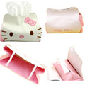 Cute PU Leather Hello Kitty Tissue Holder Household Car Application Removable Tissue Box Cover Container Napkin