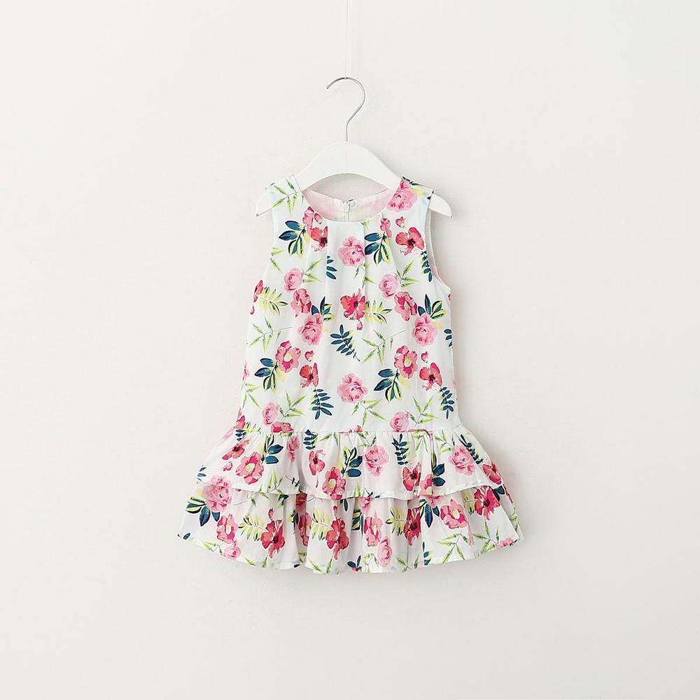 Everweekend 2016 New Kids Girls Floral Print Ruffles Party Dress Sleeveless Spring Summer Casual Dress 6pcs/lot Wholesale<br><br>Aliexpress