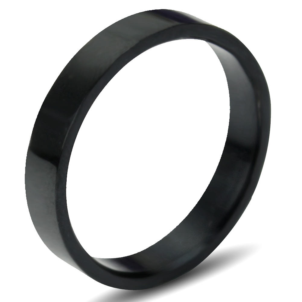 Fashionable Men's Simple Black Glossy Titanium Stainless Steel Ring Brand New(China (Mainland))
