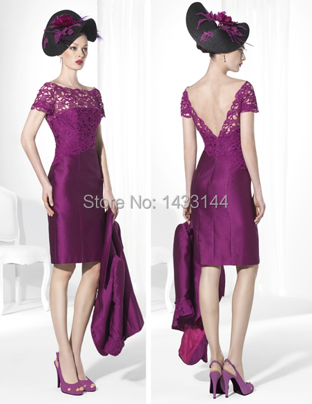 Purple satin mother of the bride dresses outfits with for Purple dresses for weddings knee length