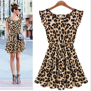 New 2014 women one piece dress leopard print Casual Sundress big size M L XLFree shipping Women's Clothing(China (Mainland))