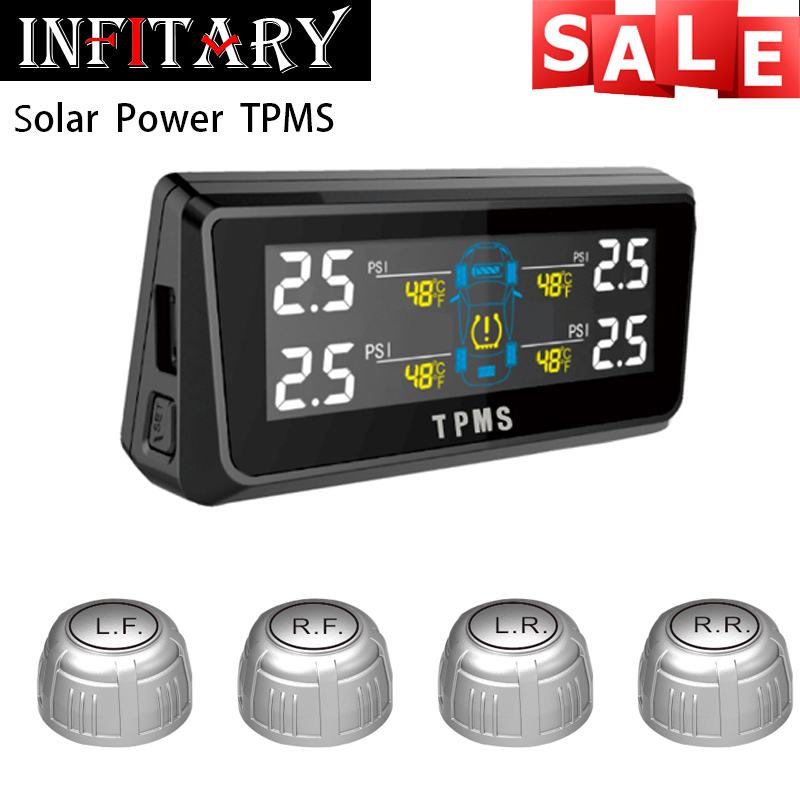 Фотография wireless TPMS with 4 external sensors solar power LCD display mircoUSB charge PSI BAR for SUV honda peugeot and all 4 wheels car