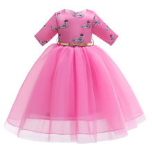 Vestido para niñas con estampado de cisne, Media manga, Princesa, fiesta, graduación, vestidos 2019, nuevo Tule, boda, ropa para niños, bonitos vestidos infantiles para niñas(China)