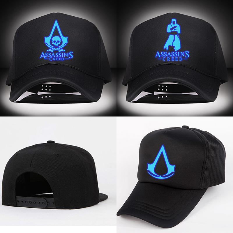 Assassins Creed Unity Visors Noctilucent Hat Printing Baseball Caps Cotton Blend Gift Free Shipping B753(China (Mainland))