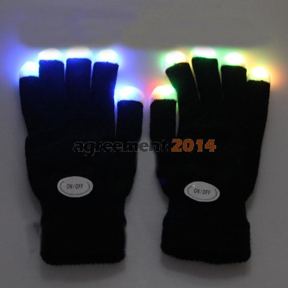 Flashing Gloves Glow 7 Mode LED Rave Light Finger Lighting Mitt Black ARE4(China (Mainland))