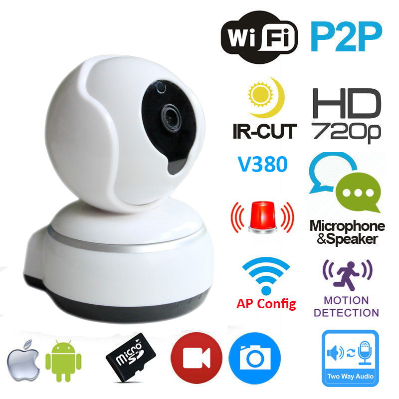 V380 Mini IP Camera HD 720P Video Surveillance CCTV System P2P Pan Tilt WiFi Hotspot Intercom Baby Monitor Q3(China (Mainland))