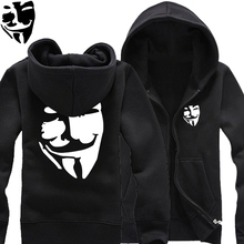 new 2015 free shipping print mask hat pattern warm autumn winter V for Vendetta logo freedom forever Hugo man sports cardigan(China (Mainland))