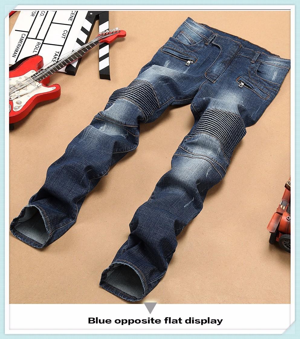 Скидки на Мужские Узкие джинсы мужчин 2015 Взлетно-Посадочной Полосы Проблемные тонкий эластичные джинсы denim Байкер джинсы хип-хоп брюки Промытые черные джинсы для мужчин синий