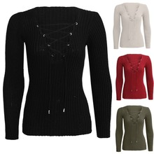 Buy New Autumn Winter Women Lace Cross Knitted Sweater Sexy Ladies V Neck Long Sleeve Knitwear Tops Pullover S-XL V2 H2 for $6.38 in AliExpress store