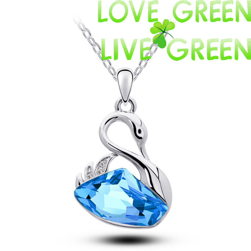 floating float swan pendant necklace Fashion women accessories 18K white Gold Plated Austrian Crystal queen design Jewelry 85168(China (Mainland))