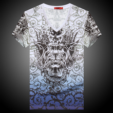 2016 Summer New High Quality Men 3D Dragon Print V Neck Tops Tees Male Thin Soft Short Sleeve T-Shirt M-3XL