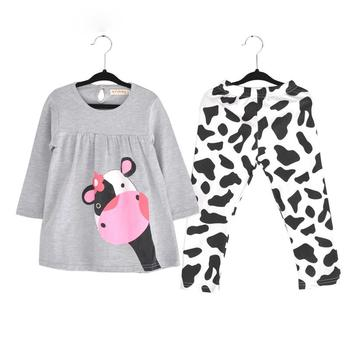 Winter Hot Sale Baby Girl Clothes Casual Long-sleeved T-shirt+pants Suit The Cow Suit Of The Girls