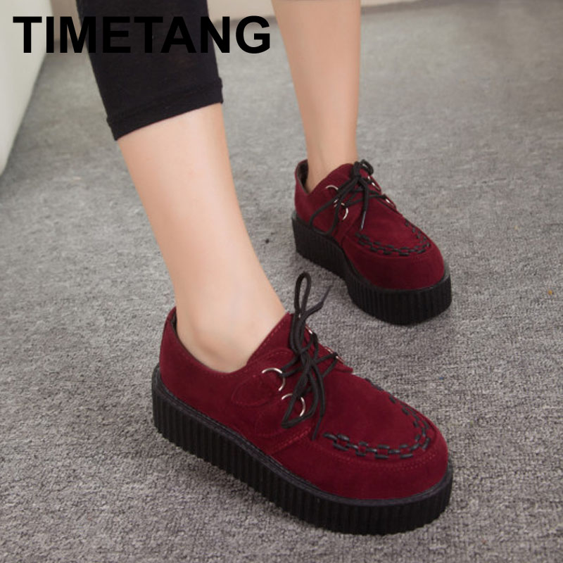 Autumn Creepers Platform Shoes Woman Flats Female Womens Girl Footwear Women Black Wine Red Thick Flat Heel Slip Soft Shoe(China (Mainland))