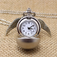 Fashion Harry Potter Pocket Watch Necklace Quidditch Quartz Digital Pendant Watch Chain Steampunk Wings Clock