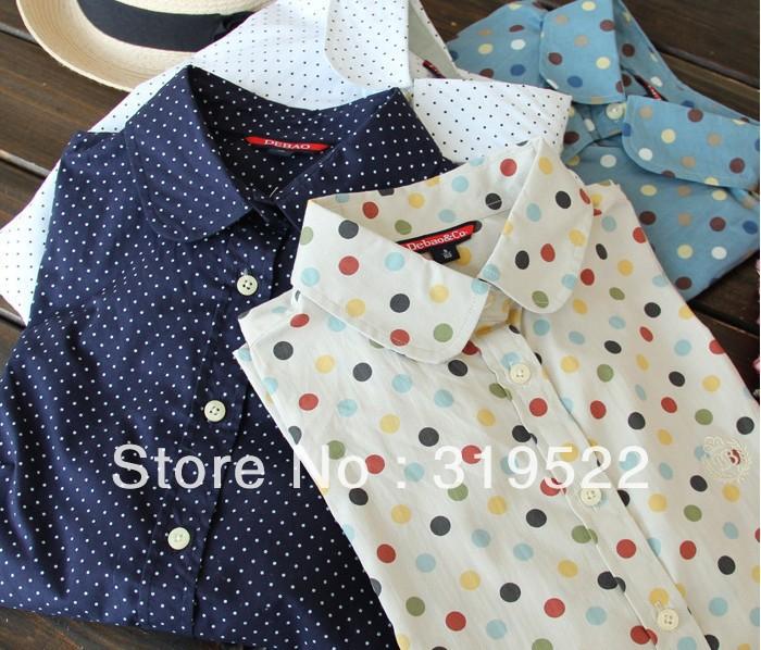 polka dots print blouse dropshpping long sleeve flowers print vintage girl pocket floral cotton blouse stable stock shirt YK12(China (Mainland))