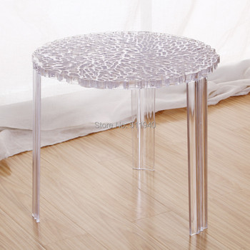 2 pieces/lot 20 inch diameter plastic three legs hollowed coffee table T-table
