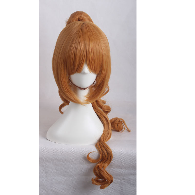 heat resistant Party hair Free shipping>>>Tokyo Ravens Orange Wave Long Chip Ponytail Cosplay Cos Wig Hair