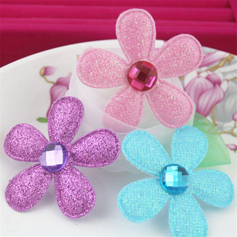 Hot Selling 50PCS Glitter Little Spring Flowers Button Patch Sticker for Girls Hair Jewelry Headband Clip Pins Bow Center DIY(China (Mainland))