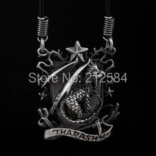 Gothic Woman's Man's Pewter House Tharashk Pendant Necklace DnD Dungeons & Dragons Games Jewelry Leather Necklace Free Shipping