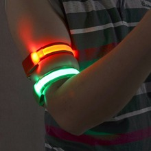 Flash Led Safety Reflective Belt Strap Snap Wrap Arm Band Belt Shine Armband 7 Colors(China (Mainland))