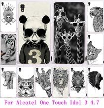 Симпатичные животные сова жираф кот слон окрашенные чехол для Alcatel One Touch идол 3 4.7 » задняя крышка чехол мешок