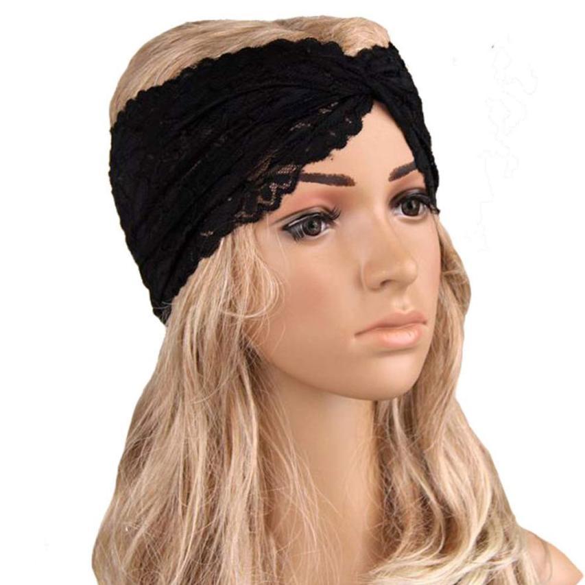 Women Headwear lace girl Twist Sport Yoga Lace Headband Turban Headscarf Wrap retro cross lace cute hair band hair clips 50*15cm(China (Mainland))