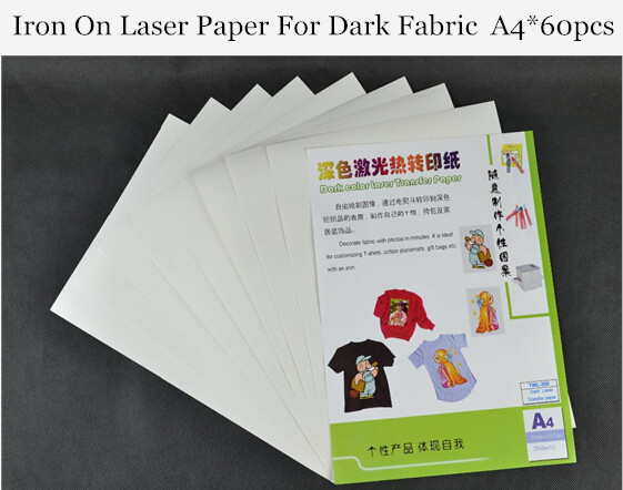 (A4*60pcs) Iron on Laser Heat Transfer Paper for Dark and Light fabric T shirt Thermal Paper Papel iron-on Transfers Papers 300(China (Mainland))
