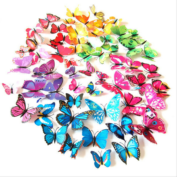 12pcs 3D Butterfly Wall Stickers Butterflies Docors Art DIY Decorations Paper 2015 New Wall Stick 23color for choose(China (Mainland))