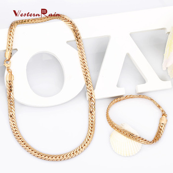 WesternRain Promotion!!! 18K Gold Plated Necklace Set,Fashion Chunky Cool  Necklace&Bracelet Jewelry set Free Shipping 829
