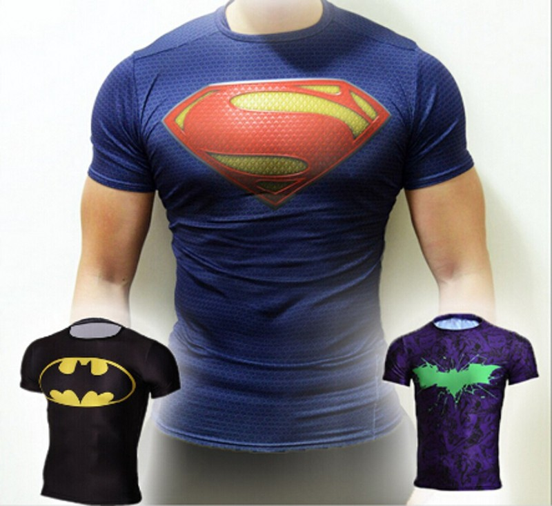 NEW 2015 super hero The hulk batman iron man The giant space The aliens COMPRESS T SHIRT male fitness 18 quick dry T-shirt style(China (Mainland))