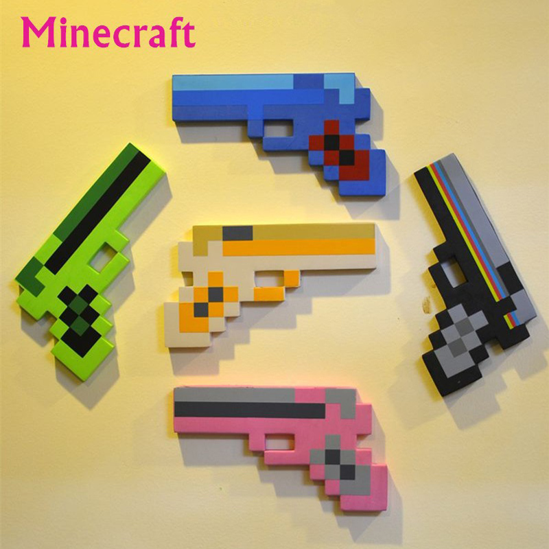 50pcs/lot Newest Minecraft Toys Minecraft Gun EVA Foam Props Weapon Outdoor Toy Action Figure Kids Toys juguetes Christmas Gifts