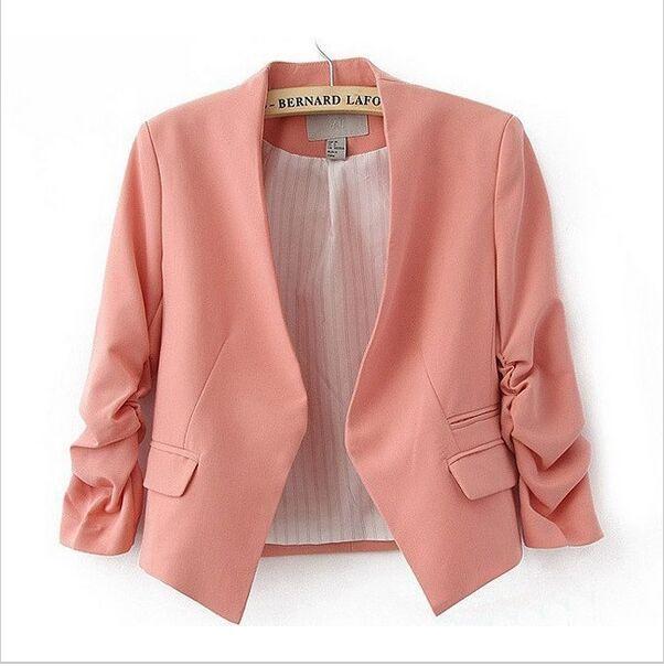 2017 Fashion Basic Jacket Blazer Women Suit Cardigan Puff Sleeve Ladies Autumn Plus Size Brand Coats Casual blazer female