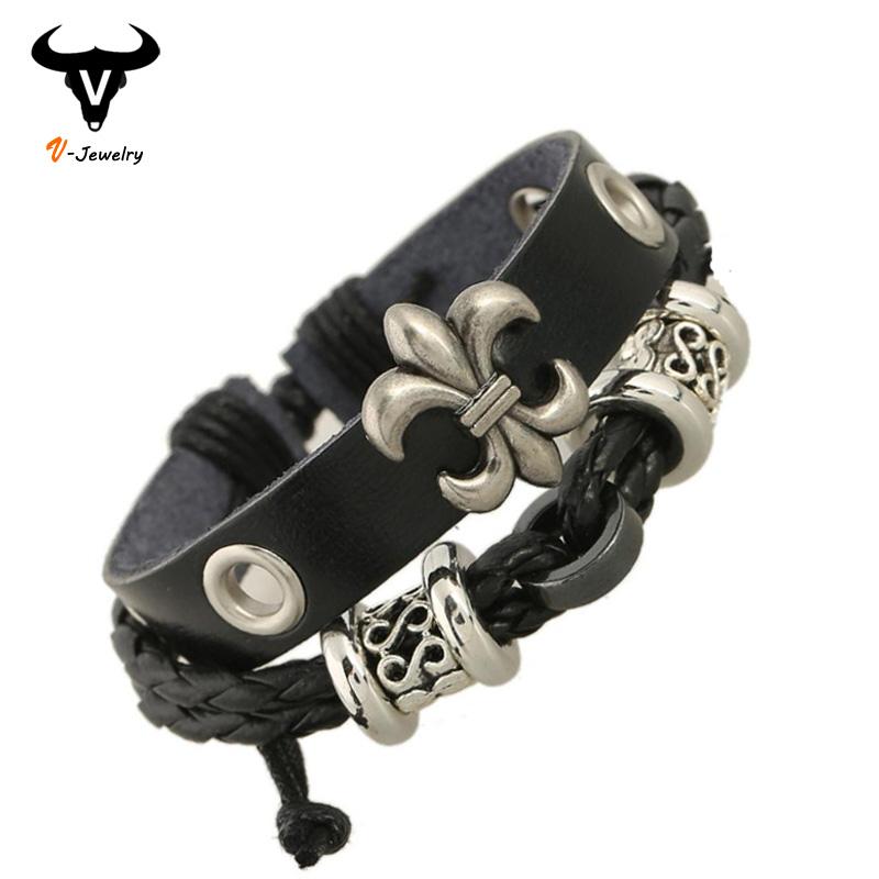 Fashion Black Leather Braided Snake Chain Men Bracelet Hollow Flower Rivet Bangle Adjustable Rope Vintage Biker Design Jewelry - V-jewelry Trade Co.,Ltd store