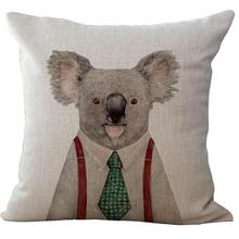 Hand Painted Animal Cotton Kids Throw Pillow