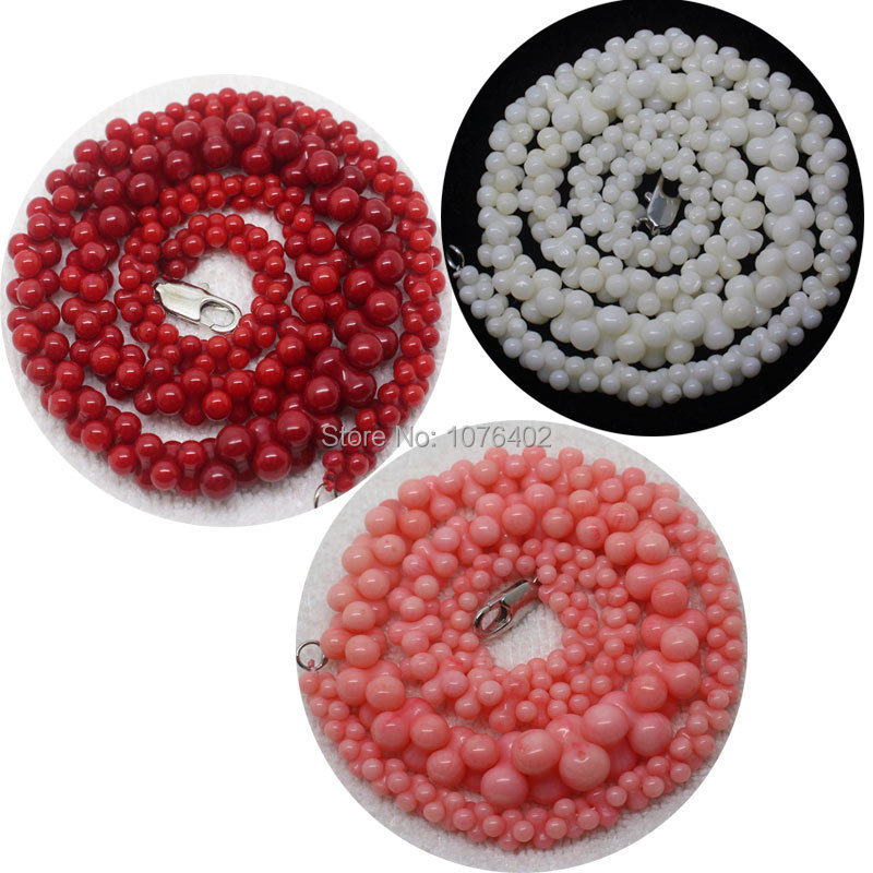 """Mini. order is $7! 3x6~8x13mm White,Pink Coral Necklace Bone Loose Beads 15""""(China (Mainland))"""