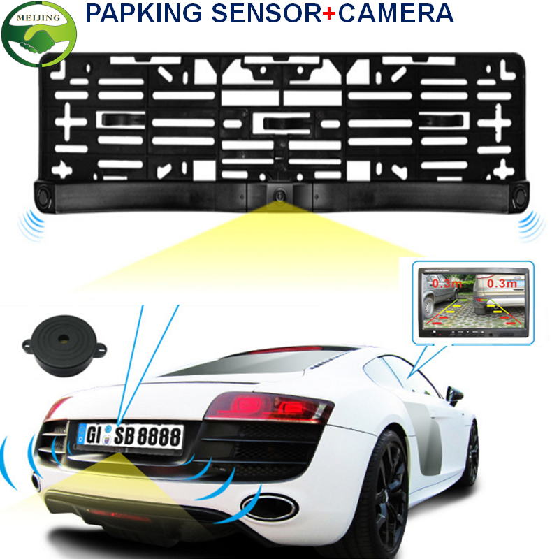 3in1 Two Car Parking Sensor Reversing Radar Video all-in-one System And Adjustable Rearview Camera Can Convert Video Formats(China (Mainland))