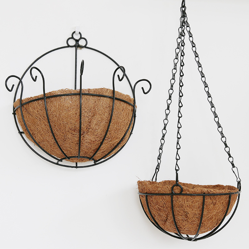 Elegant Rural Style Hanging Basket Planters Coconut Iron Art Wall Flowerpot Hanging Wall Adornment Flowers Artificial Flowers(China (Mainland))
