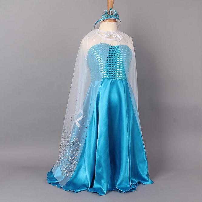 Elsa Costume Retail Princess Yarn Blue Girls Dresses Cloak+ Crown Fashion Kids Dress Party c40 - SNOW LOVE store