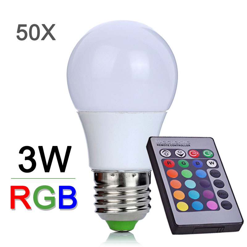 Wholesale 110V 220V RGB LED Bulb Light 3W E27 LED RGB Lamp 16 Color Changeable With Remote Controller LED Light  Lamps 50pcs/lot<br><br>Aliexpress