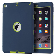 High Quality Armor Shockproof Case For iPad Air 2 High Impact Resistant Hybrid 3 Layer Silicone Combo Case Full Body Protective(China (Mainland))